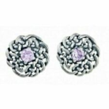 Round Celtic June Birthstone Stud Earrings June