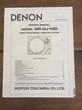 Denon DP-DJ100 Plattenspieler Service Manual-factory Original
