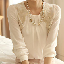 Fashion Casual Women T-shirt Chiffon Tops Summer Blouse Sleeve Shirt Lace Long