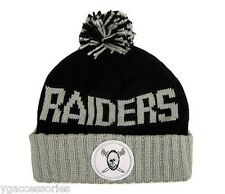 NFL Oakland Raiders Mitchell and Ness Cuffed Pom Winter Knit Hat Beanie Cap M&N