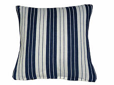 "Divan Dispersion 16"" 40cm Blanc rayure bleue Housse Coussin Coton"