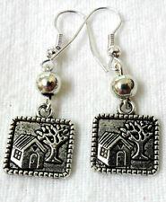 Dangle earrings - Tibetan silver framed house picture