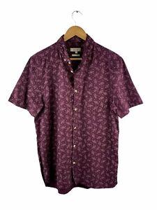 River Island Button Up Shirt Mens Size L Deep Purple Short Sleeve Regular Fit