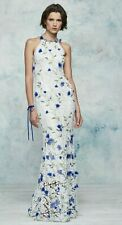$995 NEW Marchesa Notte Halter 3D Guipure Lace Gown Embroidered White Dress 0