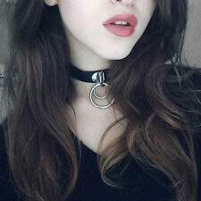 Classic Punk Rock Double O Ring Leather Collar Choker Necklace With Clavicle New