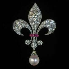 Superbly Modeled Antique Fleur-De-Lis Brooch With Pearl Drop, Pink Ruby & CZ