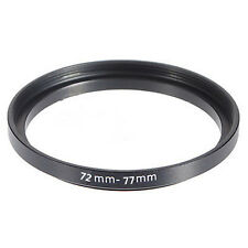 Metal 72mm-77mm 72-77mm 72 to 77 Step Up Lens Filter Ring Stepping Adapter Black