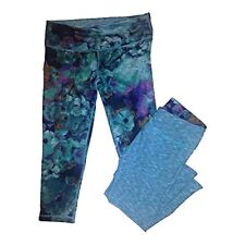 Yoga Pant reversible ACTIVE LIFE CAPRI TURQ FLOWER SPACE DYE SMALL MSRP $79 NWT