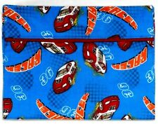 Toddler Pillowcase for Race Cars on Blue Flannel #Fm10 New Handmade