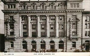 1912 CANADA RPPC POSTCARD: VIEW OF POST OFFICE, WINNIPEG, MANITOBA