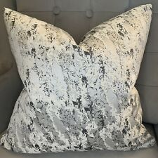 "Luxury Cushion Cover 16"" X 16"" Mellow Designer Fabric Marble Effect Grey Silver"