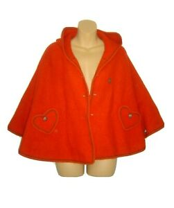Manfred Wesenjak Boiled Wool Cape Poncho Little Red Riding Hood Hooded One Size