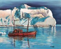 "Original Artwork Oil Painting Iceberg and Tug boat on canvas panel 8x10"""