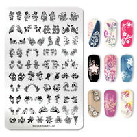 NICOLE DIARY Nagel Kunst Stamping Plate Flowers Nail Printing Plates Stencil L02