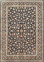 Persian Rug KASHANN Hand Knotted Wool NAVY BLUE Fine Oriental Carpet 10 x 14