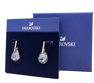 New Authentic SWAROVSKI Gold TBar Gray Crystal Geo Drop Earrings 5565999