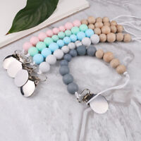 Dummy Pacifier Chain Clip Round Silicone Wood Beads Baby Teething Soother Holder