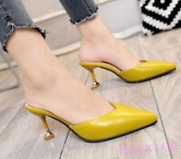 Women's Pointed Toe PU Leather Mules Shoes Fashion Slip On Kitten Heels