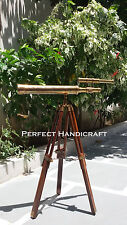 Solid Brass Antique Finish Table Telescope with Folding Portable Wooden Tripod