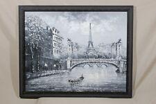 Signed - Burnett Black & White Oil Painting Eiffel Tower Seine River Paris 21x16