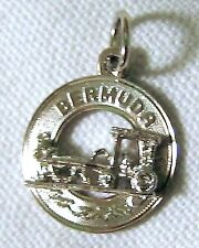 Vintage Estate Sterling Silver Bermuda Horse Drawn Carriage Disk Charm Pendant