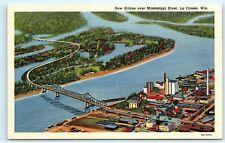 New Bridge over Mississippi River La Crosse Wisconsin old Vintage postcard A83