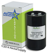 72-86 uF x 220 / 250 VAC • BMI # 092A072B250BD4A Motor Start Capacitor • USA