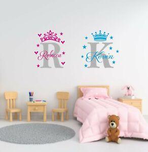 Personalised Princess/Prince Name Wall Art Vinyl Sticker Boys Bedroom Decor