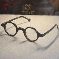 Round solid acetate eyeglasses frame mens retro tortoise glasses RX circle lens