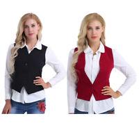 Ladies Womens Business Suit Waistcoat Collar Formal Vest Gilet Waitress Uniform
