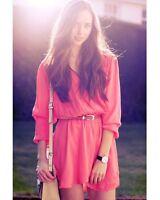 Topshop Love Coral Long Sleeve Wrap Dress UK 8 10 EURO 36 38 US 4 6 BNWT