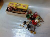 VINTAGE PELHAM PUPPET WITCH & BROOM IN BOX + 4 MORE NEEDING TLC & UNTANGLING