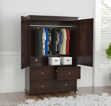 Wardrobe Closet Bedroom Armoire 4 Drawer 2 Door Furniture Space Saver Organizer