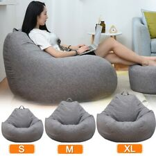 Large Small Lazy Sofas Cover Chairs without Filler Linen Cloth Lounger Bean Bag
