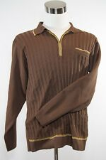 Men's VINTAGE Da Vinci Brown Zipper Polyester Long Sleeves Made in USA C26489