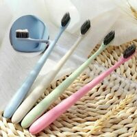 Protable Natural Bamboo Charcoal Wheat Straw Toothbrush Bristle Teeth Brush