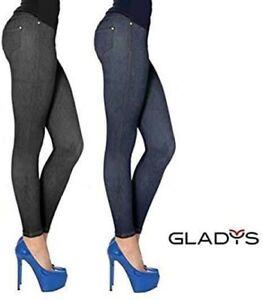 Bellissimi Leggings Gladys Blu Effetto Jeans Modellano Bene Cotone Sexy Pratici