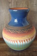 Native American Indian Hand Etched Pot by Sam