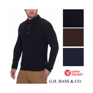 NEW!!! G.H. Bass Men's Sherpa Lined Mock Neck Sweater Size & Color VARIETY!!!