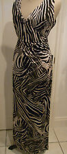 BROWN ANIMAL PRINT CROSSOVER MAXI  EVENING DRESS UK 14 BNWT