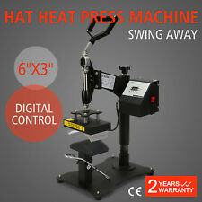 "Heat Press Transfer Digital Clamshell 6"" x 3"" Hat Cap Sublimation Machine New"