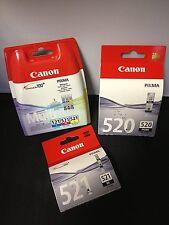5 x Canon Original OEM Inkjet Cartridges CLI-521 & PGI-520 Bk 2 Black CMY IP MX