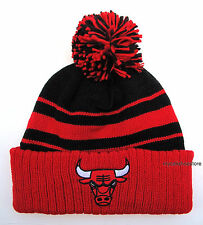 Chicago Bulls Black with Red Stripes Large Size Knit Beanie Cap Hat by Adidas