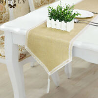 Hessian Table Runner Lace Runners Jute Burlap Sewed Edge Wedding Party Decor