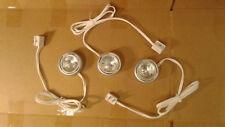 3 PACK: Under Cabinet Kitchen Portable Halogen Puck lights - Light Kit - SILVER