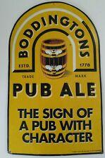 Vtg Embossed Boddingtons Pub Ale Beer Aluminum Sign Honey Bees & Barrel Rare