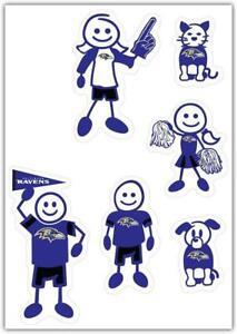Baltimore Ravens Family Decal 6 Pack (NEW) NFL Auto Car Sticker Emblem