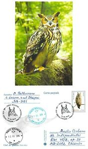 Moldova 2016 PSC birds of prey stamps with FD Cancel Long-eared owl