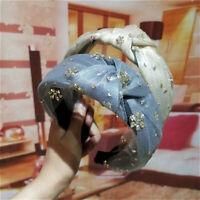 Fashion Women's Crystal Headband Wide Hairband Flower Hair Band Hoop Accessories
