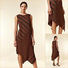 Wallis Asymmetric Dress Size 16 | Rust Stripe Print | BNWT | £50 RRP | New!